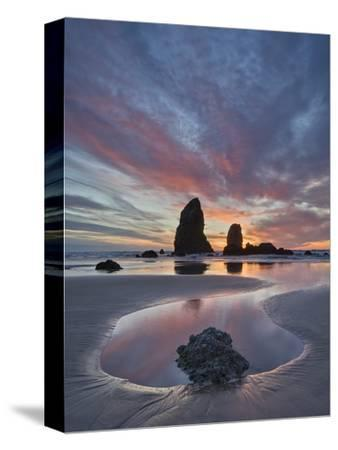 Sea Stacks at Sunset, Cannon Beach, Oregon, United States of America, North America