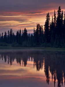 Sunset at An Unnamed Lake Near Salmo Lake, Alaska Highway, Yukon Territory, Canada, North America by James Hager