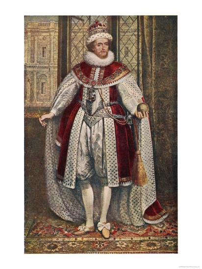 James I of England James VI of Scotland in State Robes Holding Orb and Sceptre--Giclee Print