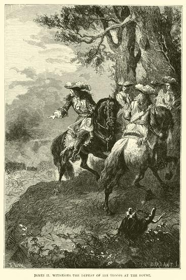 James II Witnesses the Defeat of His Troops at the Boyne--Giclee Print