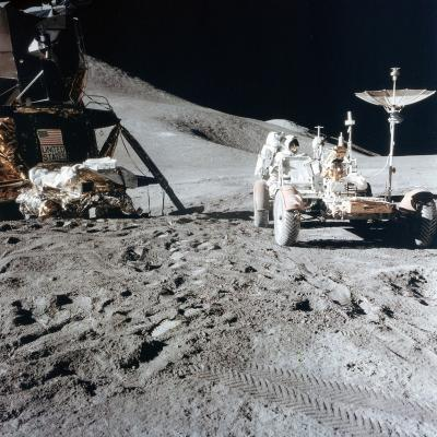 James Irwin (1930-199) with the Lunar Roving Vehicle During Apollo 15, 1971--Photographic Print