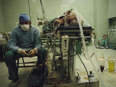 A Doctor Watches a Monitor Tracking the Vital Signs of a Patient by James L. Stanfield