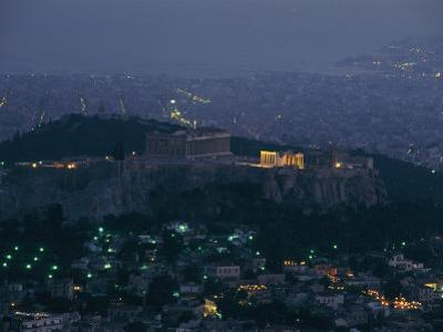 Acropolis and Parthenon Photographed at Dusk from Mt. Likavittos by James L^ Stanfield