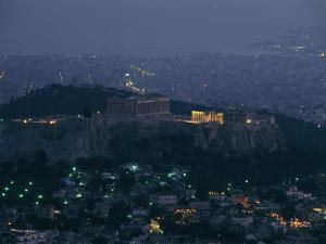 Acropolis and Parthenon Photographed at Dusk from Mt. Likavittos by James L. Stanfield