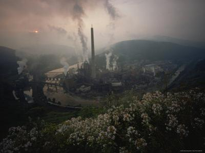 Paper Mill Spews Smoke Into the Sky, North Branch of the Potomac River at Luke, Maryland by James L. Stanfield
