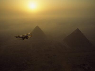 Vickers Vimy Aircraft Circles the Pyramids of Giza, Egypt by James L. Stanfield