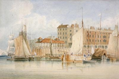 View of Billingsgate Wharf and Market with Vessels and People, City of London, 1824