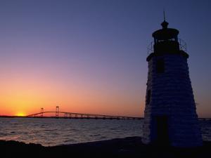Lighthouse, Goat Island, Newport, RI by James Lemass