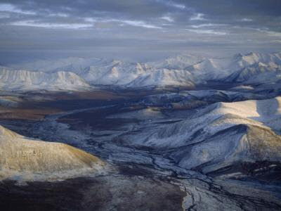 Aerial View of the Brooks Range at Twilight, Alaska