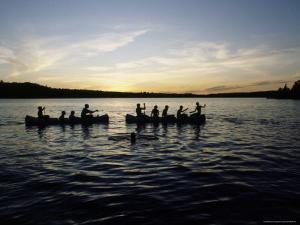 Canoeing on Saint Regis Pond at Sunset, Adirondack Mountains, New York by James P. Blair