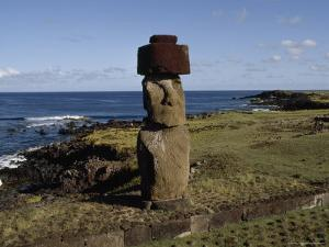 Lone Moai Stands on an Elevated Platform, Ahu Tahira, Vinapu Cove, Easter Island by James P. Blair