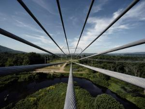 Nine Electric Cables Stretch from a Frame to a Transmission Tower by James P. Blair