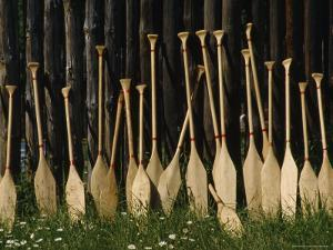 Oars Are Propped Against a Fence, Old Fort William, Thunder Bay, Ontario, Canada by James P. Blair