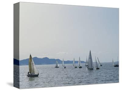 Sailboats Participate in a Regatta on the Great Salt Lake, Utah