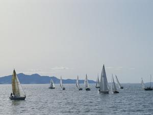 Sailboats Participate in a Regatta on the Great Salt Lake, Utah by James P. Blair