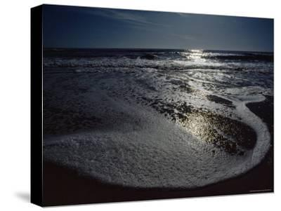 The Atlantic Ocean with Moonlight Reflected on the Foamy Surf, Assateague Island, Virginia