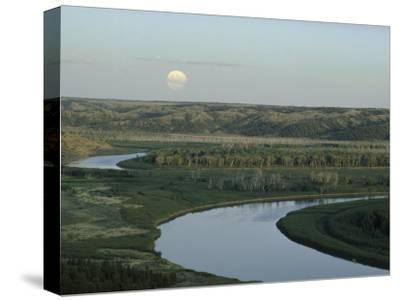 The Meandering Missouri River Under a Full Moon Rising, Montana