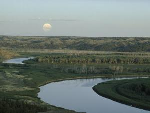 The Meandering Missouri River Under a Full Moon Rising, Montana by James P. Blair