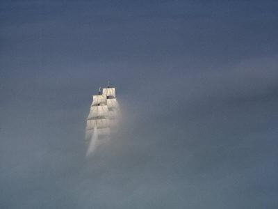 The Tall Ship USCG Eagle Sails in a Sea of Fog off Cape Cod, Massachusetts