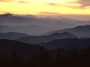 Twilight View of Silhouetted Mountain Ridges by James P. Blair