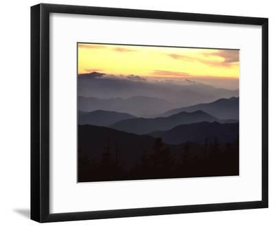 Twilight View of Silhouetted Mountain Ridges