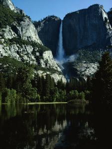 Yosemite Falls Behind a Still Lake, California by James P. Blair