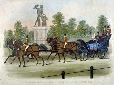 Queen Victoria and Prince Albert Taking Air in Hyde Park, London, C1840 by James Pollard