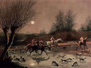 Returning Home by Moonlight (Colour Litho) by James Pollard