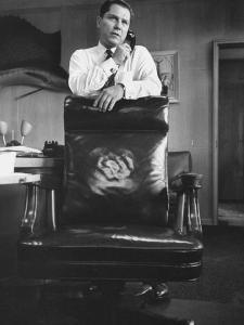 James R. Hoffa in His Teamsters Office Using Telephone
