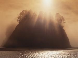 Sun Beams Breaking through Fog over Sea Stack by James Randklev