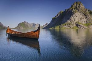 A Viking Boat Replica on a Lake in Norway by James Richardson