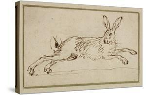 A Hare Running, with Ears Pricked (Pen and Ink on Paper) by James Seymour