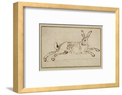 A Hare Running, with Ears Pricked (Pen and Ink on Paper)