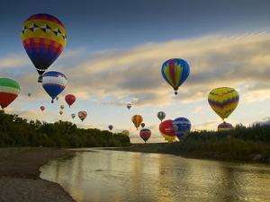 Balloons Soaring About Sandia Mountains and Rio Grande River During Albuquerque Balloon Fiesta by James Shive