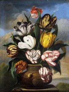 Tulips in a Vase, with a Caterpillar, a Snail, and a Fly, on a Plinth in a Landscape by James Sillett