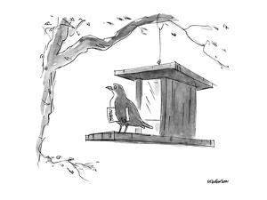 Bird, with menu under its wing, on a bird feeder. - New Yorker Cartoon by James Stevenson