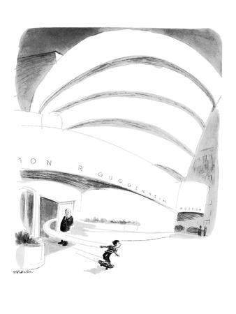 Boy rides out of Guggenheim Museum on a skateboard. - New Yorker Cartoon
