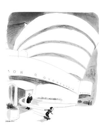 Boy rides out of Guggenheim Museum on a skateboard. - New Yorker Cartoon by James Stevenson