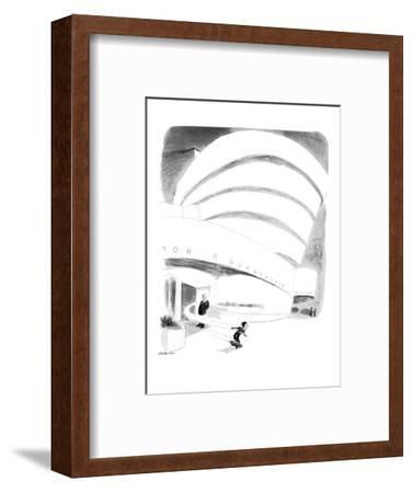 Boy rides out of Guggenheim Museum on a skateboard. - New Yorker Cartoon
