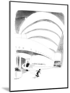Boy rides out of Guggenheim Museum on a skateboard. - New Yorker Cartoon by James Stevenson