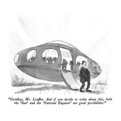 """""""Goodbye, Mr. Loeffler.  And if you decide to write about this, both the '?"""" - New Yorker Cartoon by James Stevenson"""