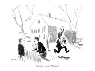 """Guess who got into Hotchkiss!"" - New Yorker Cartoon by James Stevenson"