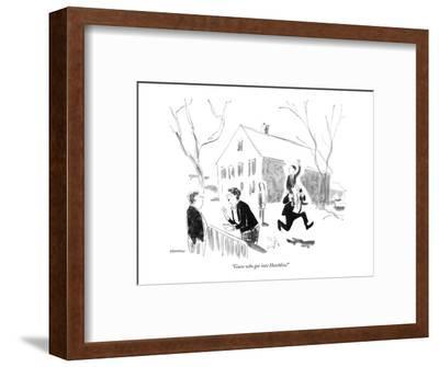 """Guess who got into Hotchkiss!"" - New Yorker Cartoon"
