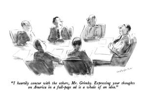 """""""I heartily concur with the others, Mr. Grimby.  Expressing your thoughts ?"""" - New Yorker Cartoon by James Stevenson"""
