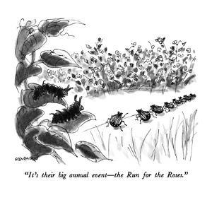 """""""It's their big annual event?the Run for the Roses."""" - New Yorker Cartoon by James Stevenson"""