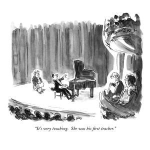 """""""It's very touching.  She was his first teacher."""" - New Yorker Cartoon by James Stevenson"""