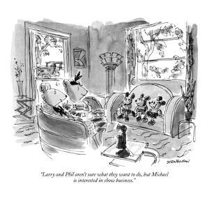 """Larry and Phil aren't sure what they want to do, but Michael is intereste?"" - New Yorker Cartoon by James Stevenson"