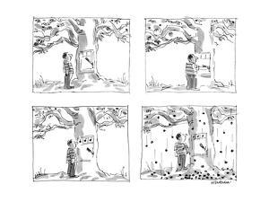 Man approaches slot machine built into a cherry tree. He pulls the lever, ? - New Yorker Cartoon by James Stevenson