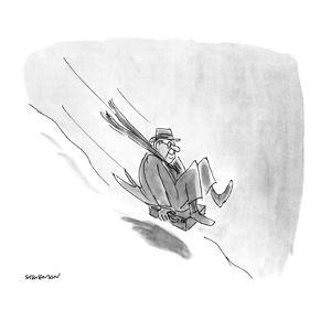 Man sliding down snowy hill on briefcase. - New Yorker Cartoon by James Stevenson