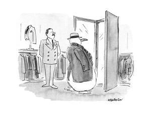 Snow man tries on winter coat and hat. - New Yorker Cartoon by James Stevenson